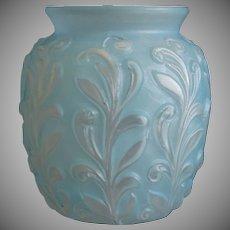 Phoenix Glass Sculptured Artware Figured Vase, Blue Wash, Ca. 1938