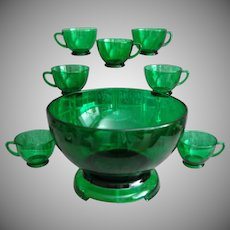 Anchor Hocking 10 pc. Punch Bowl Set, Forest Green