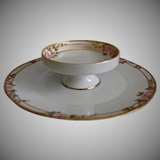 Noritake Nippon Hand Painted Moriage Floral Tiered Dish