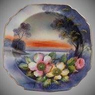 Stunning Noritake Hand Painted Pedestal Bowl, Ca. 1930