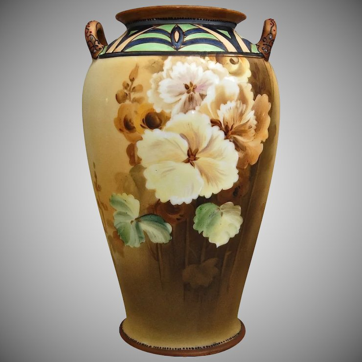 Nippon Art Deco Hand Painted Floral Vase The Devil Duck Collection