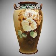 Nippon Art Deco Hand Painted Floral Vase
