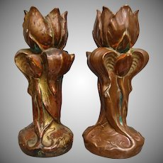 Nouveau-style Copper Dipped Plaster Candlesticks