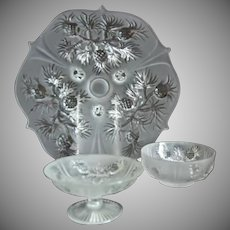 "Fenton Glass ""Pineapple"" 3 pc. Group, Satin Crystal"