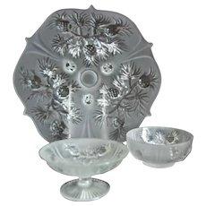 "Fenton Glass ""Pineapple"" 3 pc. Group, Satin Crystal"