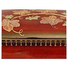 "Carlton Ware ""Vine"" Pattern Lidded Box, Rouge Royale, Circa 1950"