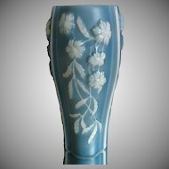Phoenix  Glass Sculptured Artware Aster Vase, Blue, Circa 1938