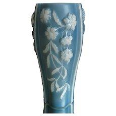 Phoenix  Glass Sculptured Artware Aster Vase, Blue, Circa 1938
