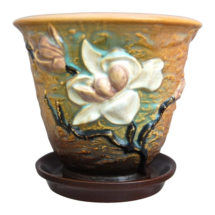Roseville Pottery Magnolia Flower Pot 666 5 Brown Ca 1943 Red