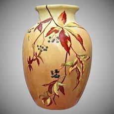 "Handpainted 10"" Earthenware Vase, Virginia Creepers, Artist Signed/Dated 1883"