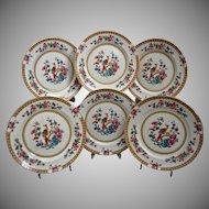 "Bridgwood England ""Paradise"" Dessert Plates, Set of 6, Circa 1900"