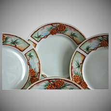 Rosenthal Salad Plates, Pine Bough Border, Set of 4, Circa 1910