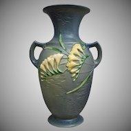 "Roseville Pottery Freesia Vase #127-12"", Blue, Circa 1945"