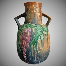 "Roseville Pottery Wisteria Vase #638-9"", Blue, Circa 1933"