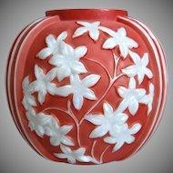 Phoenix Sculptured Artware Starflower Vase, Rose Pearlized, Ca. 1934