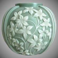Phoenix Sculptured Artware Starflower Vase, Green Cameo, Ca. 1938