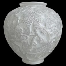 "Phoenix Glass ""Reuben Line"" Pine Cone Vase w/Label, White Wash, Ca. 1934"