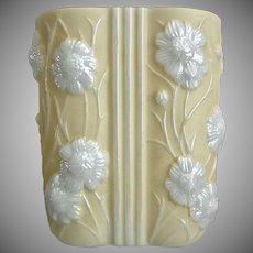 "Phoenix Glass Sculptured Artware ""Cosmos"" Vase, Yellow Pearlized, Circa 1939"