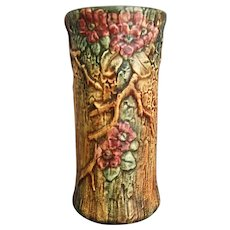 """Weller Pottery 10"""" Woodcraft Vase, Circa 1925 - Red Tag Sale Item"""