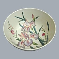 Modern Chinese Porcelain Bowl w/Hand Painted Iris