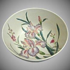 Modern Chinese Porcelain Bowl w/Hand Painted Iris