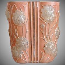 Phoenix Glass Sculptured Artware Cosmos Vase, Coral Satin, Circa 1934