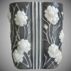 Phoenix Glass Sculptured Artware Cosmos Vase, Grey Pearlized, Circa 1934