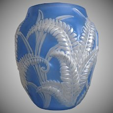 Phoenix Glass Sculptured Artware Fern Vase, Blue Wash, Ca. 1934