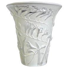 Phoenix Glass Sculptured Artware Freesia Vase, White, Circa 1934 - Red Tag Sale Item