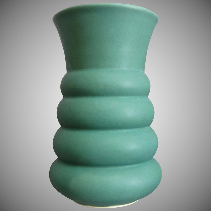 Machine Age Pottery Vase Matte Green The Devil Duck Collection