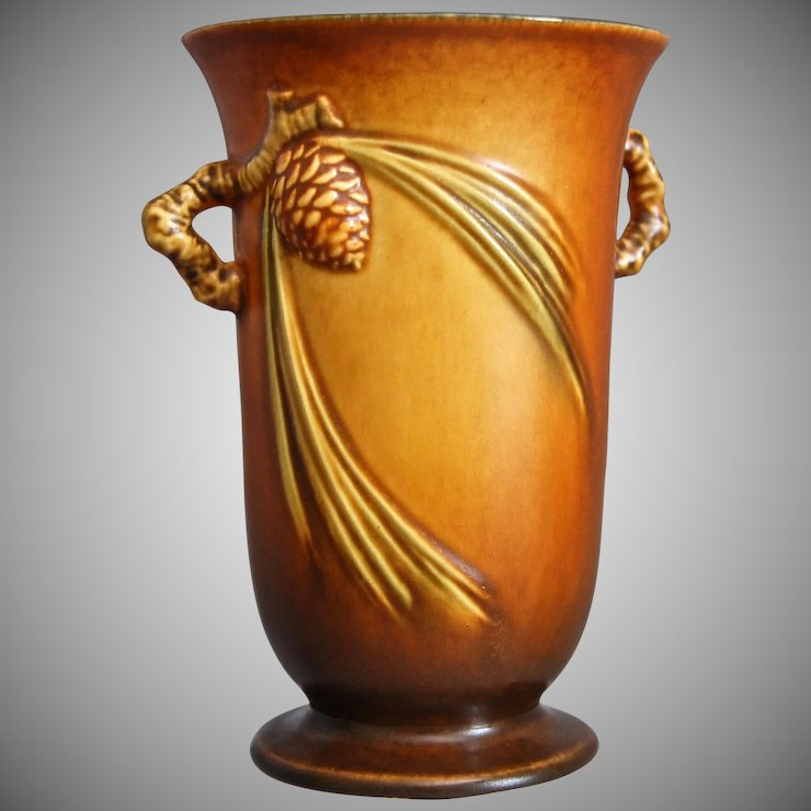 Roseville Pottery Pinecone Vase 838 6 Brown Circa 1936 The