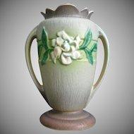"""Roseville Pottery Gardenia Vase #686-10"""", Gray, Circa 1950"""