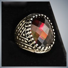Artisan Sterling Silver Ring w/Faceted Gemstone, Size 8
