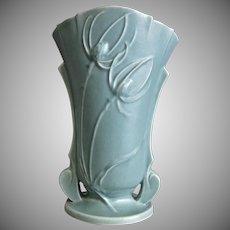 """Roseville Pottery Teasel Vase #886-9"""", Green, Ca. 1938"""