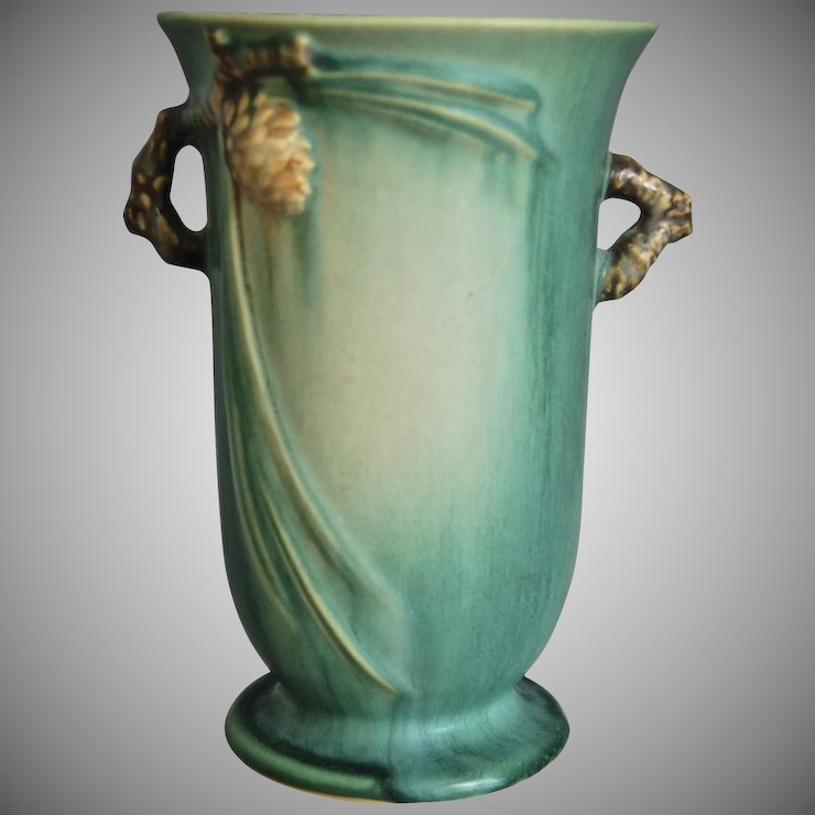 Roseville Pottery Pinecone Vase 838 6 Green C 1936 The Devil