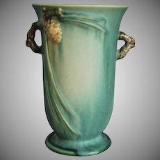 "Roseville Pottery PineCone Vase #838-6"", Green, c 1936"