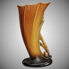 """Roseville Pottery PineCone Vase #490-8"""", Brown"""