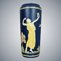 "Weller Pottery Blue Ware 11"" Vase w/Maidens, Circa 1920"