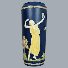 "Weller Pottery Blue Ware 11"" Vase w/Maidens, Circa 1920"