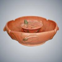 "Roseville Pottery Teasel Bowl & Frog #344-8"", Rust Matt, Circa 1938"
