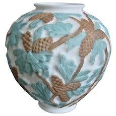 Consolidated Martele' Pine Cone Vase, Bi-Color, c. 1930