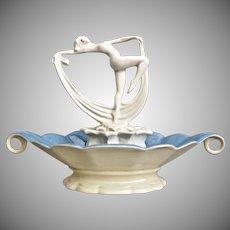 Cowan Pottery Flower Figure #686 & Bowl #743-A, c. 1927