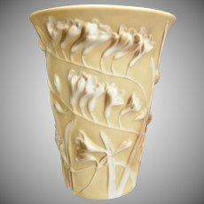 Phoenix Glass Sculptured Artware Freesia Vase, Yellow Cameo, c. 1940