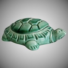 Mosaic Tile Co. Turtle Trinket Box, Green, Circa 1935