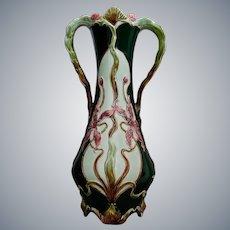 Tall Austrian Majolica Vase w/Orchids, Circa 1900