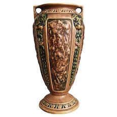 "Roseville Florentine Vase #233-10"", Brown, c. 1924"