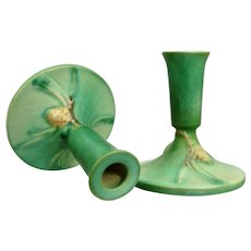 """Roseville Pottery Pine Cone Candlesticks #1094-4 ½"""", Green, Circa 1940"""