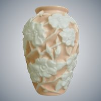"Phoenix Glass Sculptured Artware ""Wild Rose"" Vase, Coral Pink, Ca. 1936"