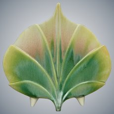 """Newman Ceramic Works """"Standing Leaf"""" Vase #V-4, """"Sage"""" Green Glaze"""