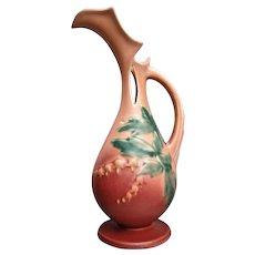 """Roseville Pottery Bleeding Heart Ewer #972-10"""", Pink, Circa 1940"""